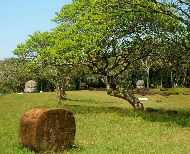Têtes en pierre de Tabasco Mexique image libre de droits