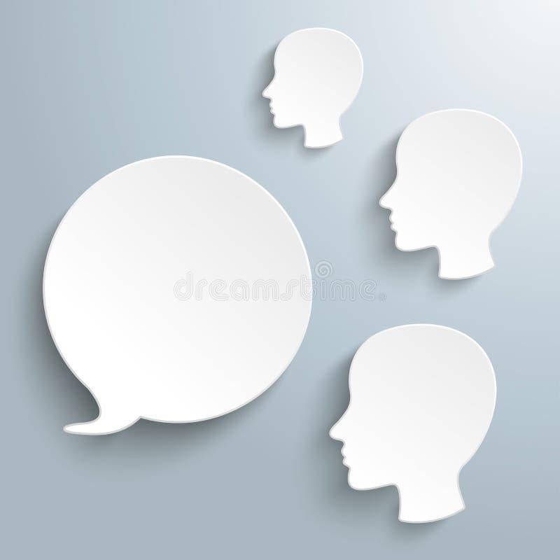 Têtes humaines de la bulle 3 blancs de la parole illustration de vecteur