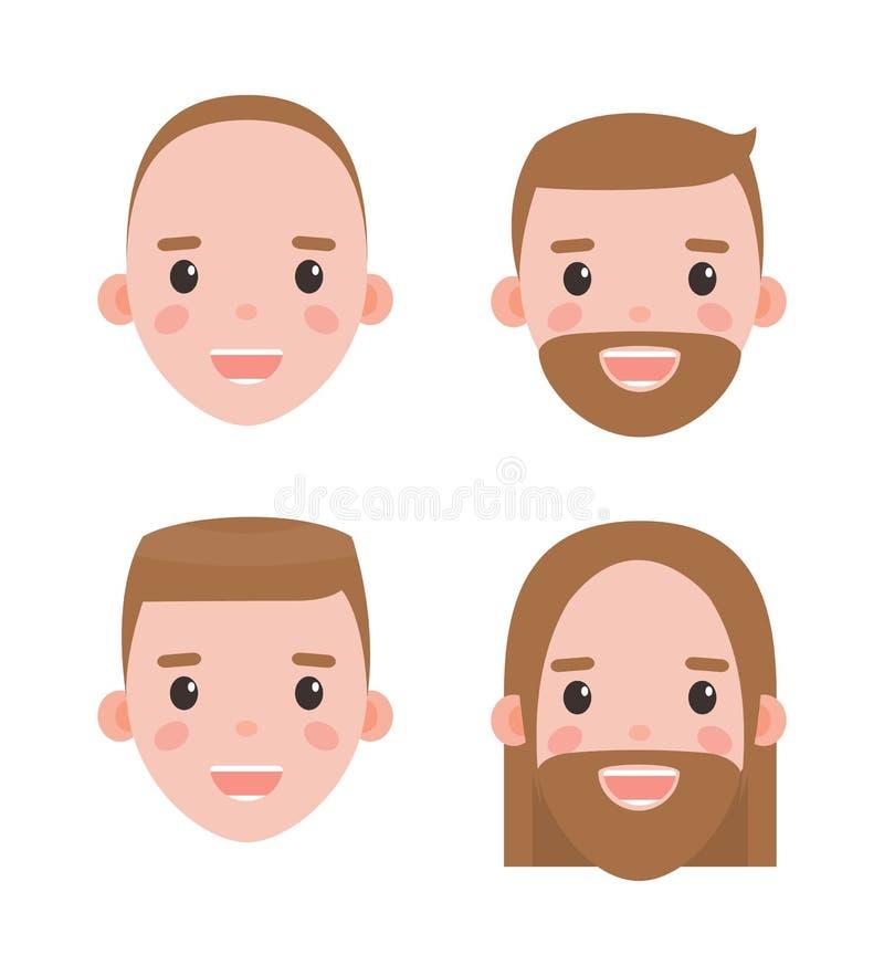 Têtes masculines rasées et barbues avec des coiffures réglées illustration de vecteur