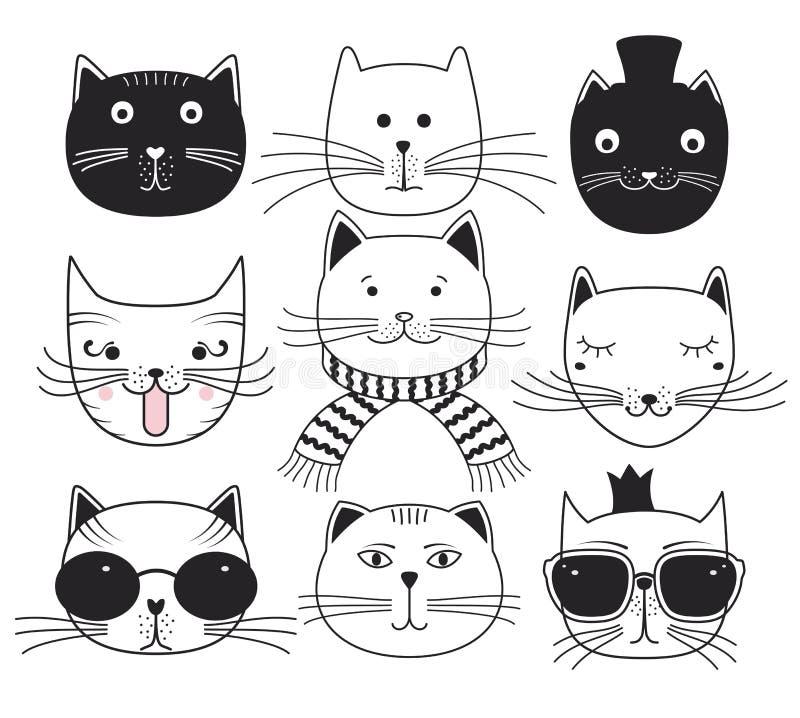 Têtes mignonnes de chat Placez les animaux familiers d'avatars illustration de vecteur