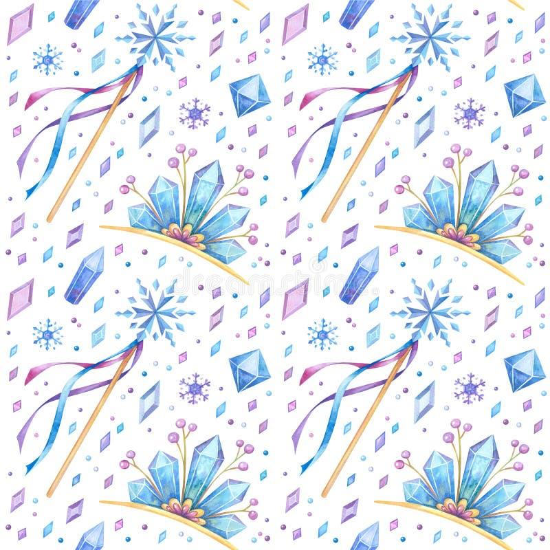 Tíaras, palos y cristales dibujados a mano sin fisuras ilustración del vector