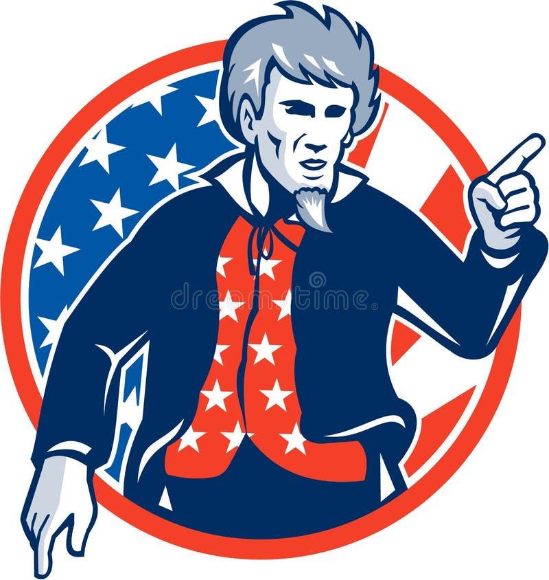 Tío Sam American Pointing Finger Flag retro libre illustration