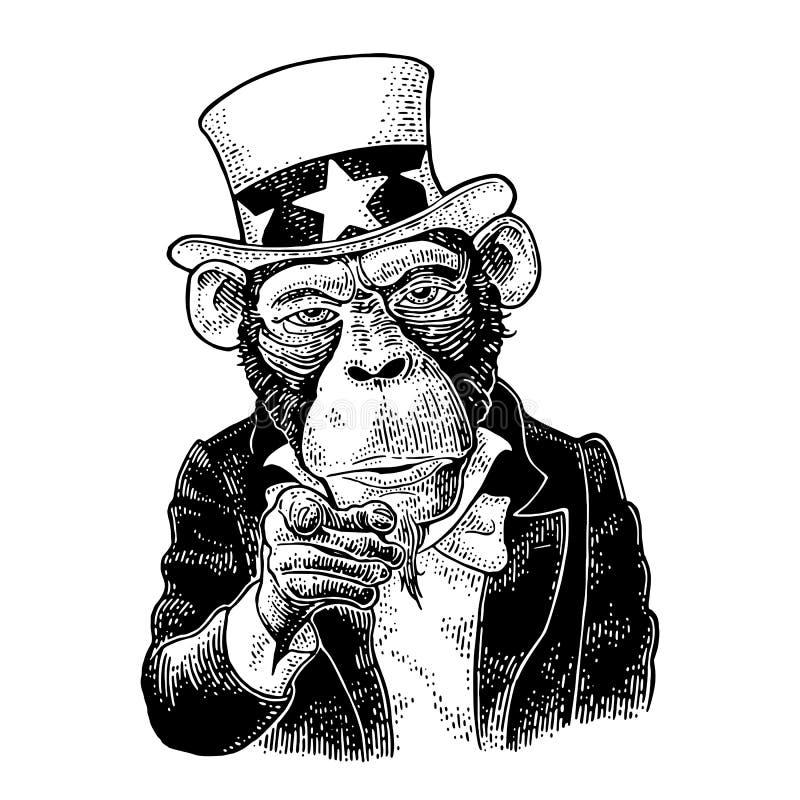 Tío Sam del mono con señalar el finger en el espectador Grabado del vintage libre illustration