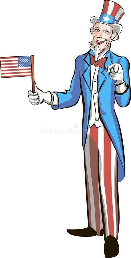 Tío Sam en pequeña bandera americana del control completo del crecimiento y el señalar en usted ilustración del vector