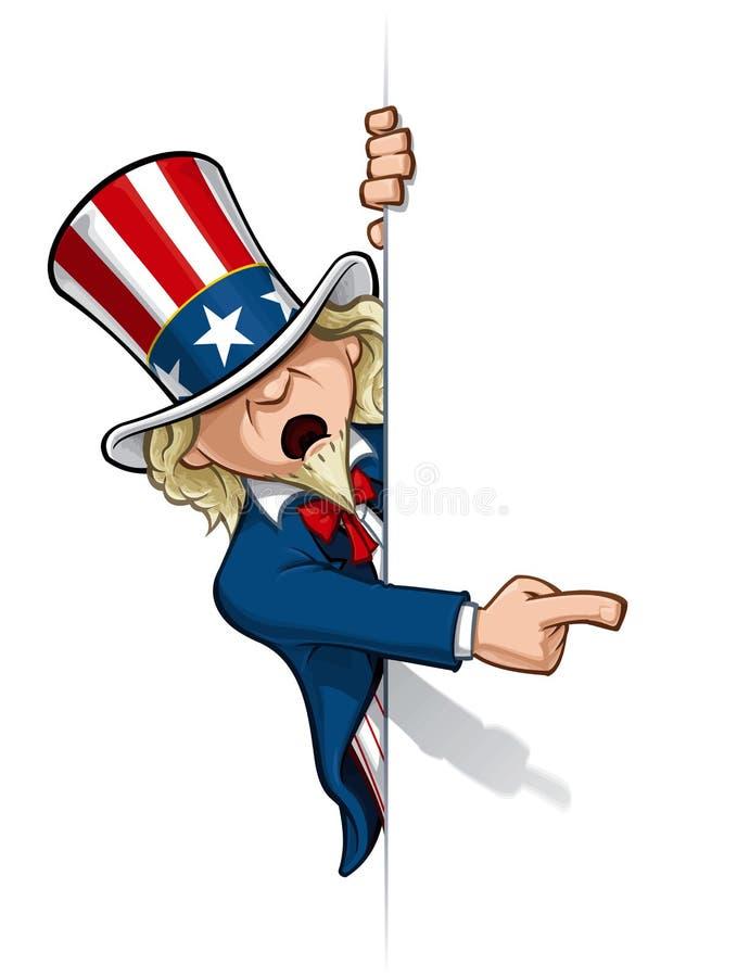 Tío Sam que señala en una bandera stock de ilustración