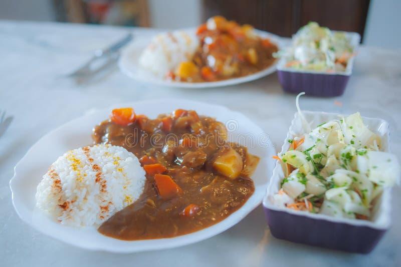 Típico arroz picante japonés con curry imágenes de archivo libres de regalías