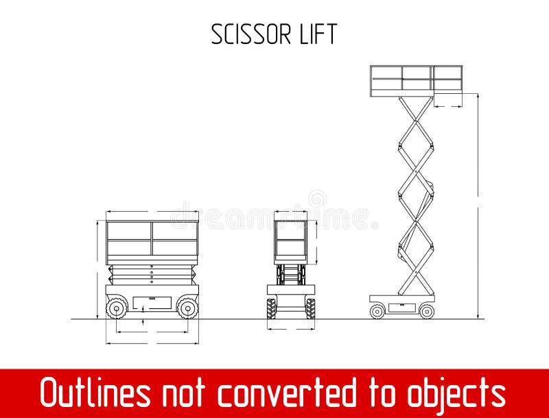 Típico scissor o molde do modelo do esboço das dimensões totais do elevador ilustração royalty free