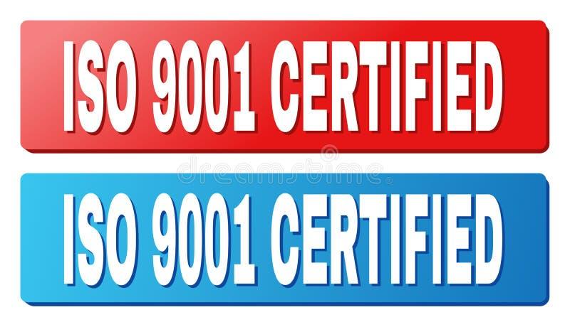 Título CERTIFICADO do ISO 9001 em botões azuis e vermelhos do retângulo ilustração royalty free