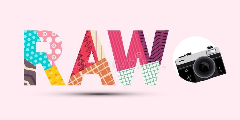 Título CRU feito dos papéis cortados de papel com projeto moderno da câmara digital retro no fundo cor-de-rosa ilustração stock