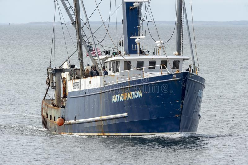Título da antecipação da embarcação de pesca comercial para New Bedford imagem de stock