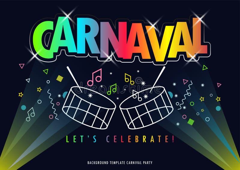 Título de Carnaval con el partido colorido libre illustration