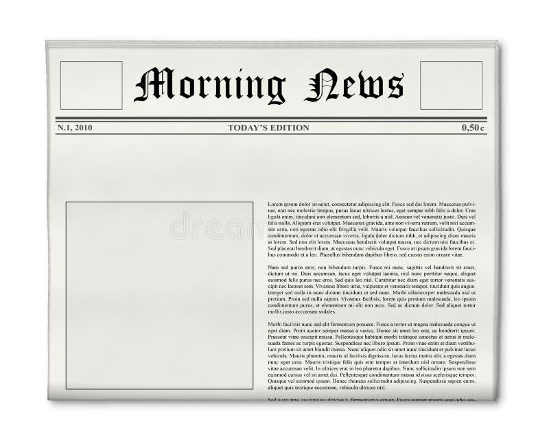 Título de jornal e molde da foto