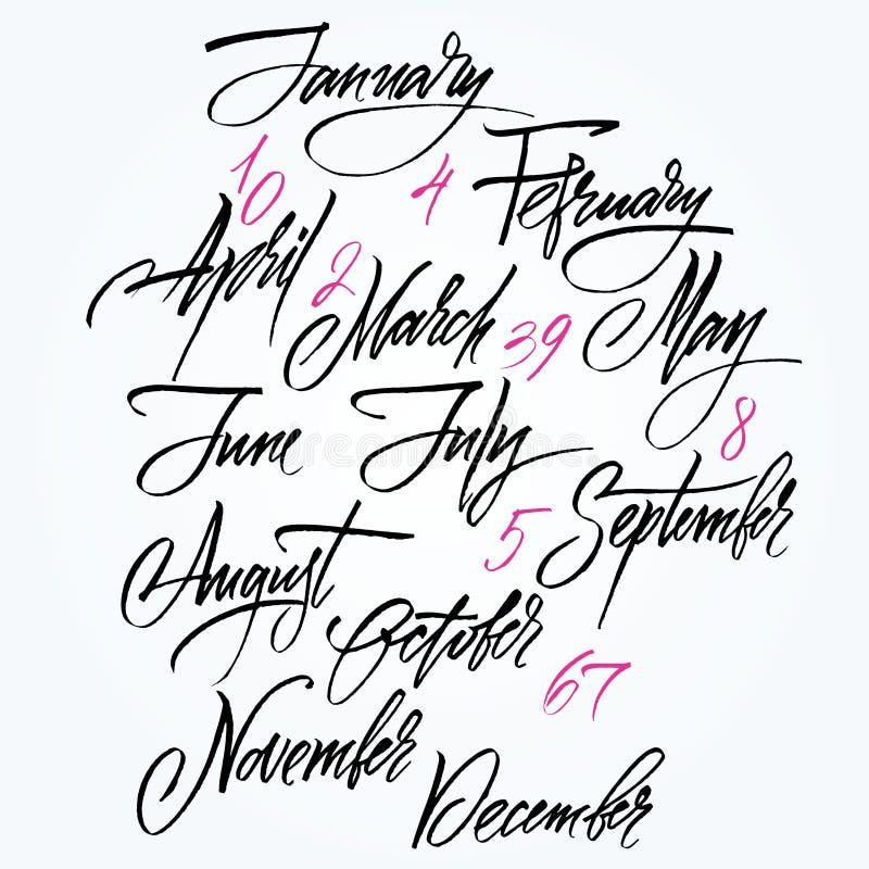 Título de los meses del año. Números a partir de la 0 a 9. ilustración del vector