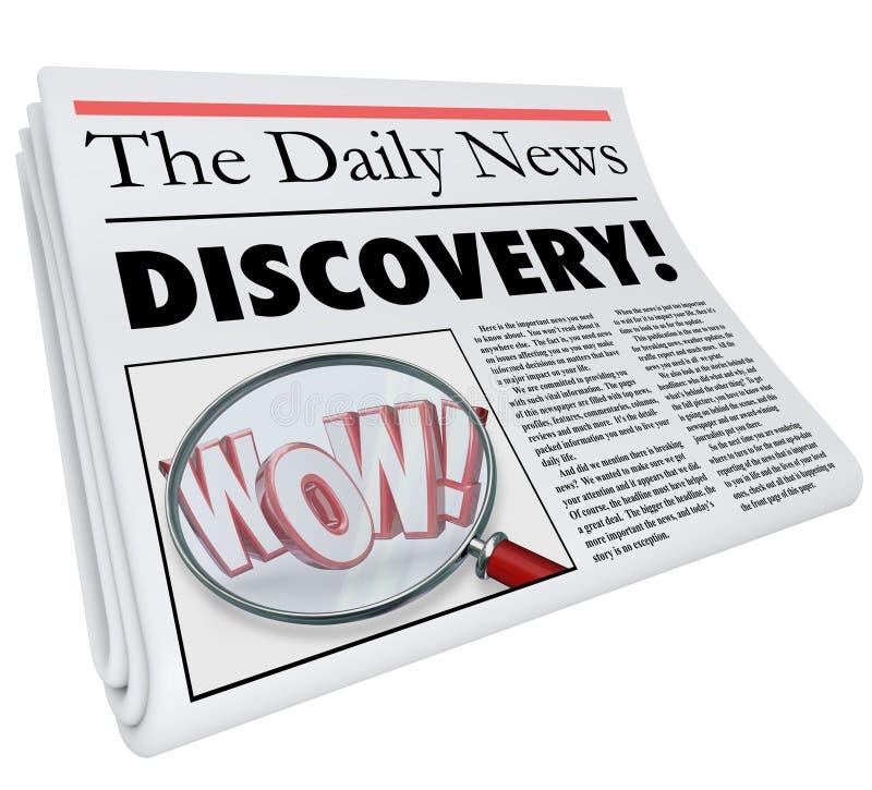 Título de periódico del descubrimiento que anuncia noticias asombrosamente stock de ilustración