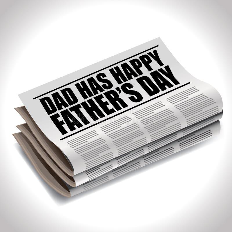 Título de periódico feliz del día de padres ilustración del vector