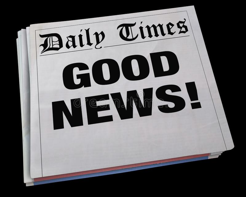 Título de periódico de giro del aviso de buenas noticias 3d Illustrati stock de ilustración