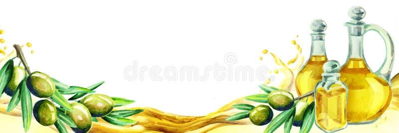 Título del aceite de oliva stock de ilustración