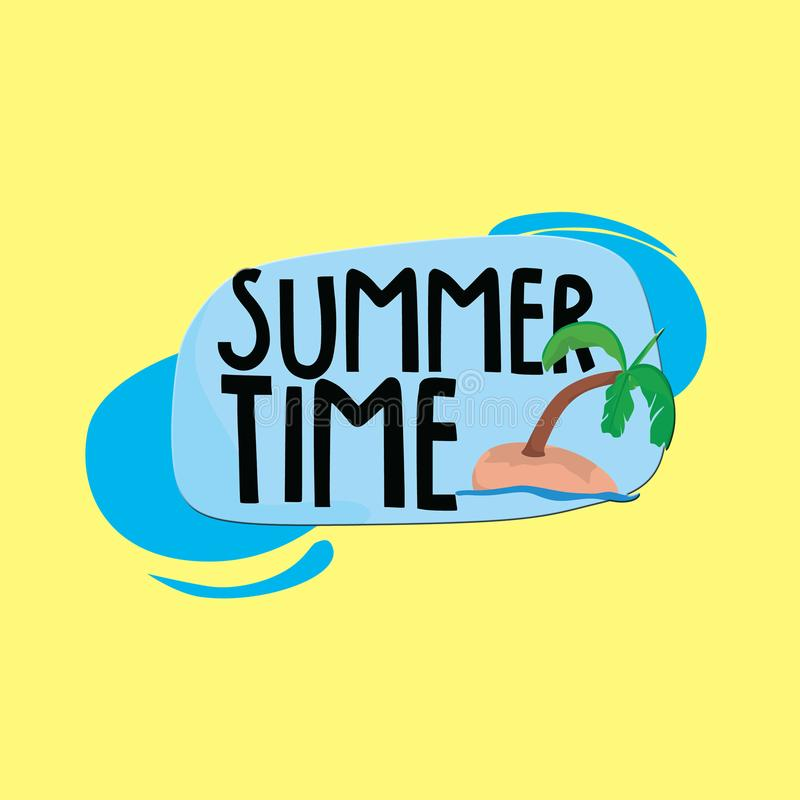 T?tulo del tiempo de verano con los ?rboles de coco y el fondo amarillo stock de ilustración