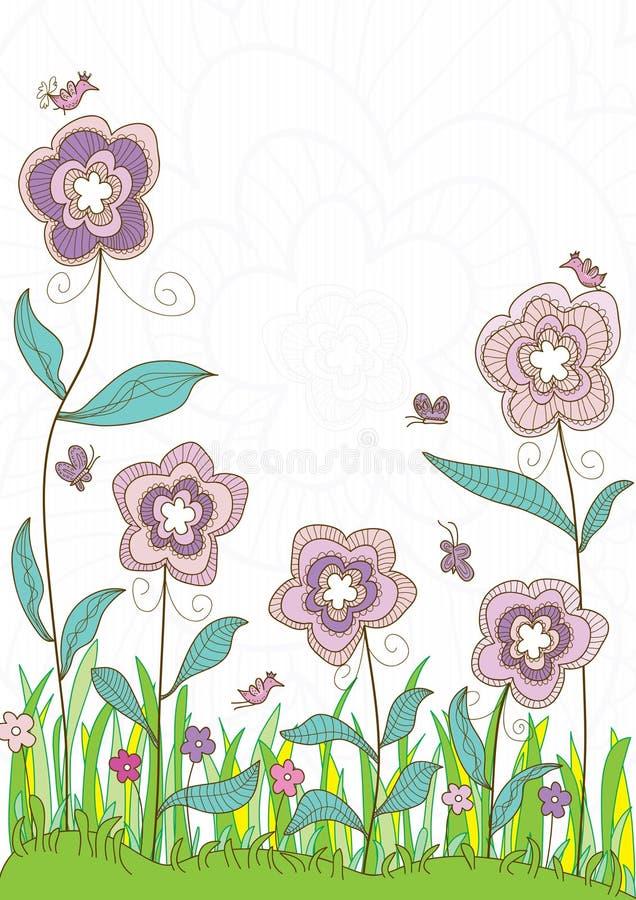 Título do estilo das flores ilustração do vetor