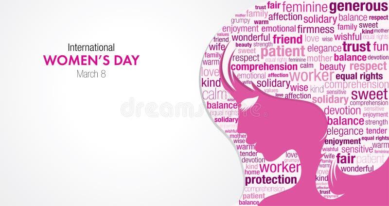 Título internacional do dia do ` s das mulheres com uma silhueta de uma cara do ` s da mulher e uma nuvem das palavras dentro da  ilustração royalty free