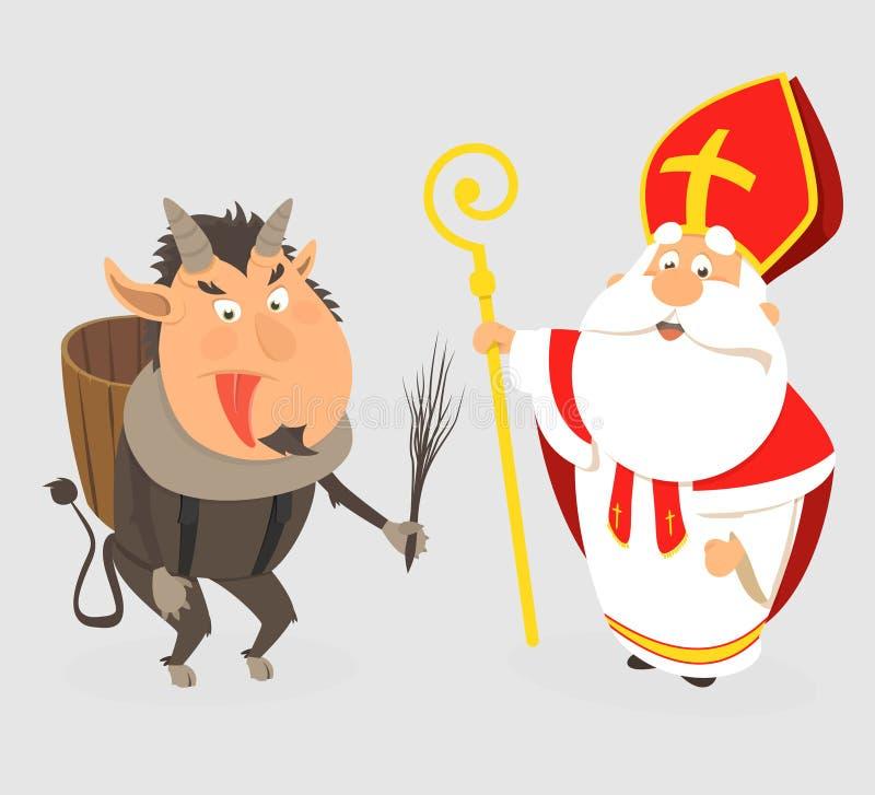 Título: Krampus e São Nicolau - estilo dos desenhos animados isolado - ilustração do vetor ilustração royalty free