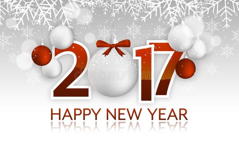 Título ou bandeira do ano novo feliz 2017 com quinquilharia de suspensão, curva, flocos de neve, neve ilustração do vetor