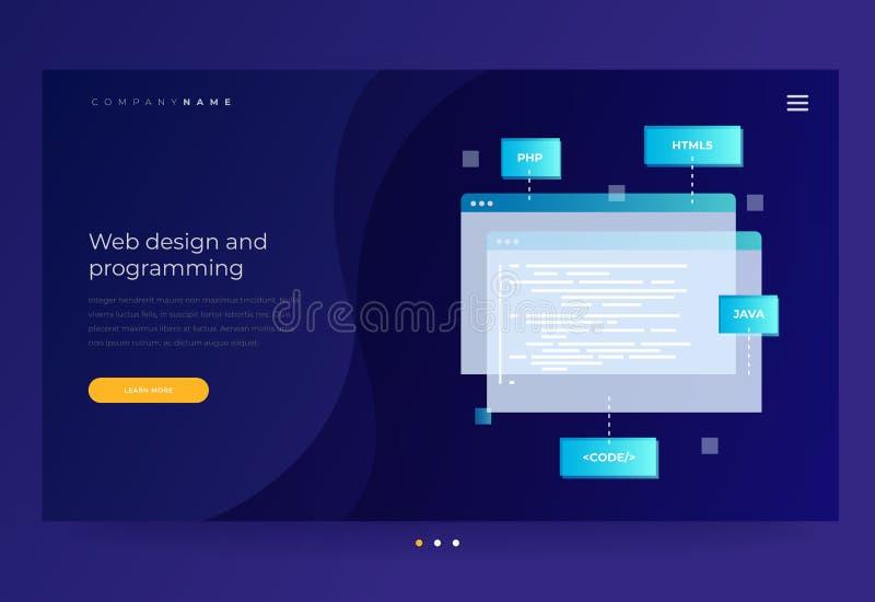 Título para o Web site Conceito da programação e do software ilustração stock
