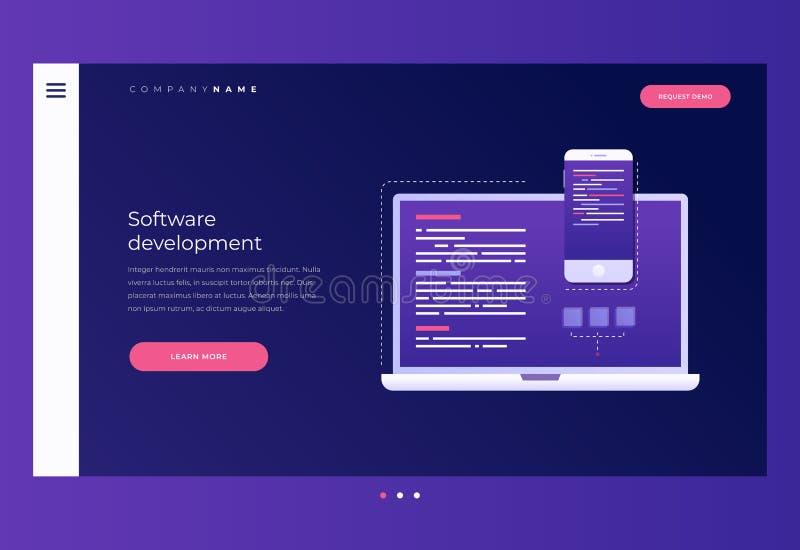 Título para o Web site homepage Oncept do ¡ de Ð do desenvolvimento e do software ilustração do vetor