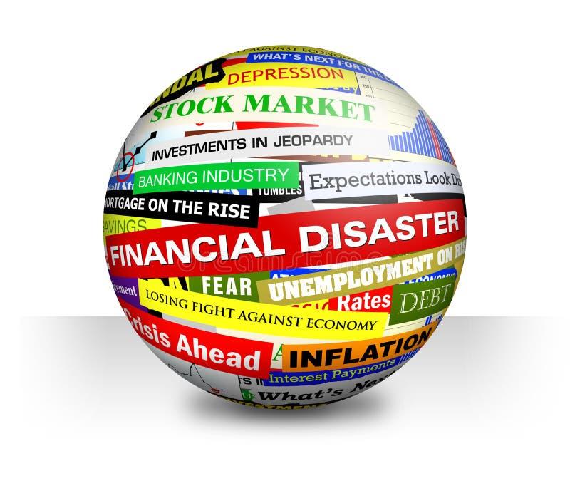 Título ruins financeiros da economia do negócio ilustração do vetor