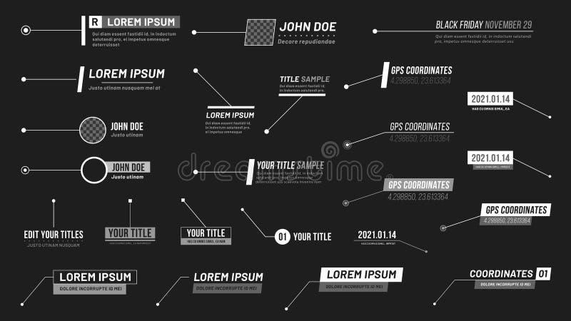 Títulos de los reclamos Etiquetas de la barra del reclamo, barras de la caja de llamada de la información y vector moderno de las stock de ilustración