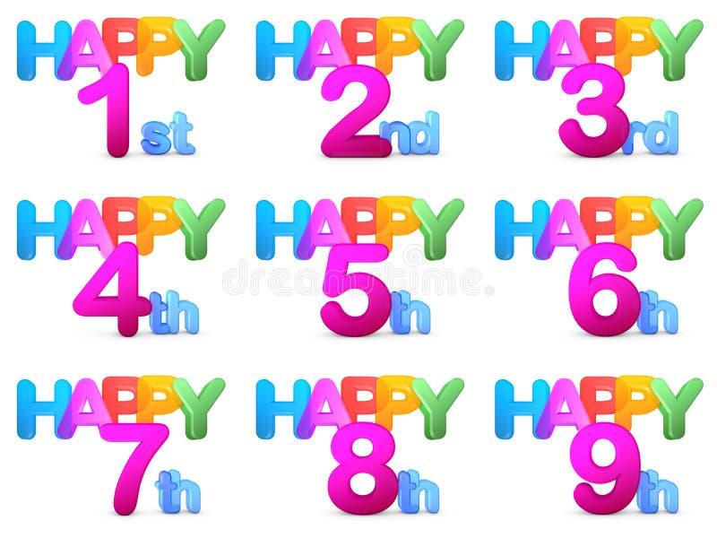 Títulos do feliz aniversario ilustração royalty free