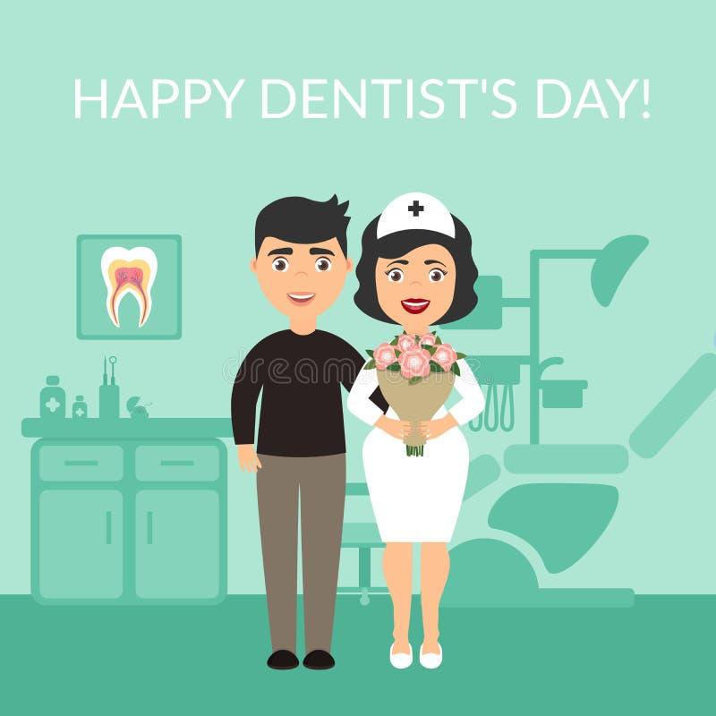 Títulos médicos do cartão do feriado Dia feliz do ` s do dentista O paciente agradeceu ao dentista Bouquet das flores Vetor dentr ilustração do vetor