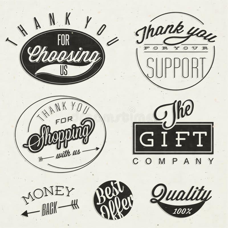 Títulos tipográficos e símbolos do estilo retro do vintage. ilustração stock