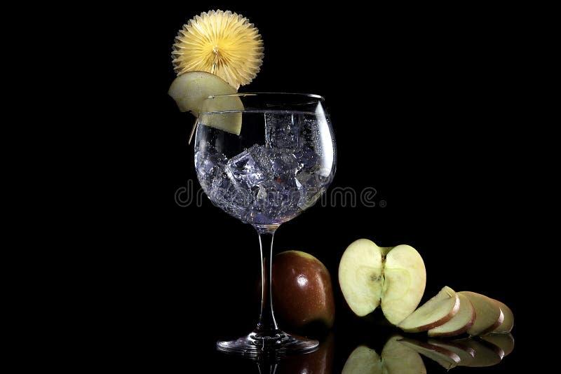 Tónico de la ginebra con la manzana I fotografía de archivo