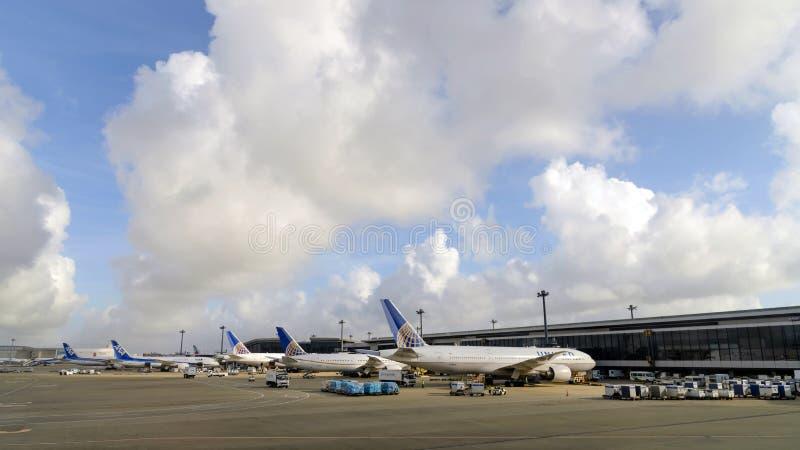TÓQUIO - EM JULHO DE 2018: Estacionamento dos aviões de United Airlines e de All Nippon Airways ANA no aeroporto internacional de imagem de stock