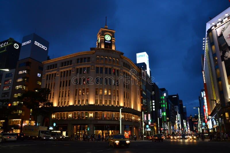 Tóquio Ginza Nightview fotos de stock