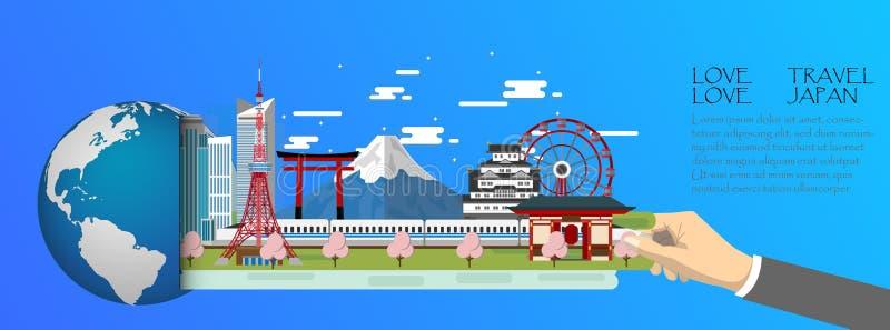 Tóquio infographic, global com os marcos de Japão, estilo liso ilustração do vetor