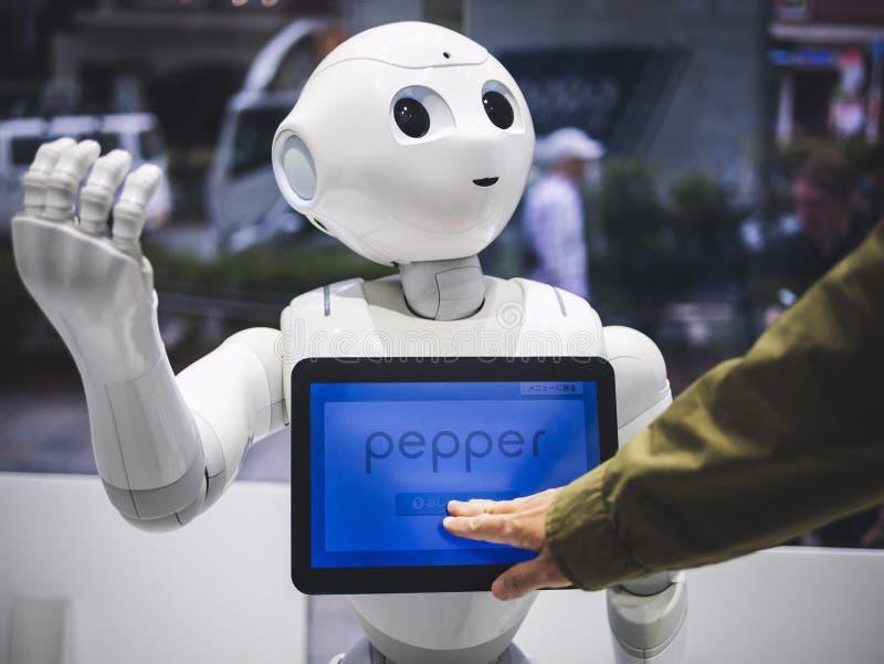 TÓQUIO, JAPÃO - 16 DE ABRIL DE 2018: Assistente Humanoid do robô da pimenta com a tela da informação na loja Japão de Softbank fotos de stock