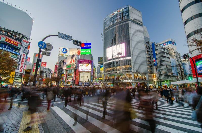 Tóquio, Japão - 28 de novembro de 2013: Aglomere-se no cruzamento famoso do distrito de Shibuya imagens de stock royalty free