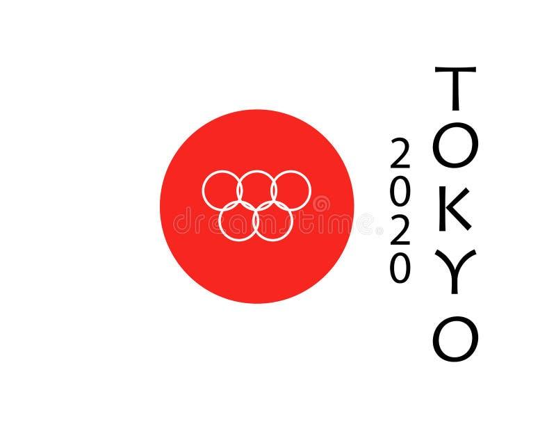 TÓQUIO JAPÃO 2020 Jogos Olímpicos no Tóquio Anéis olímpicos na bandeira e no texto No fundo branco ilustração stock