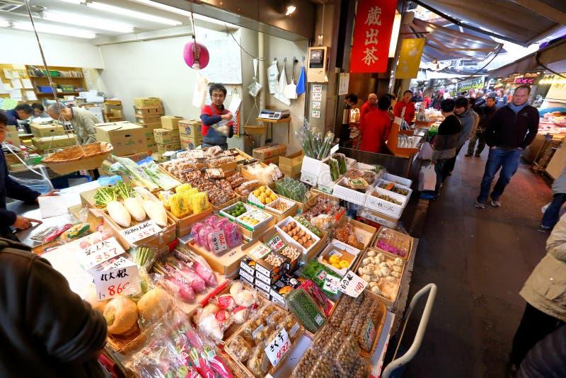Tóquio: Mercado de peixes do marisco de Tsukiji fotografia de stock