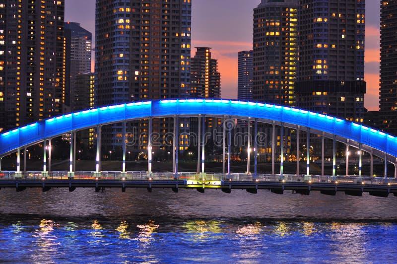 Tóquio na noite - ponte do bashi de Eitai foto de stock royalty free