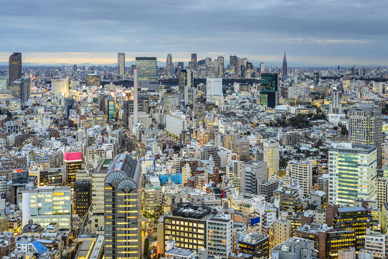 Tóquio, opinião da arquitetura da cidade de Japão fotografia de stock
