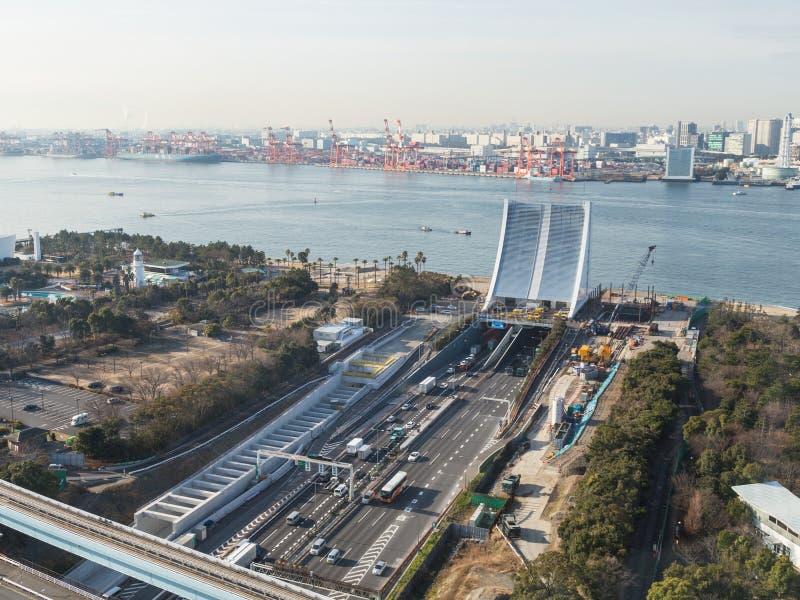 Tóquio urbano na área de Odaiba imagem de stock