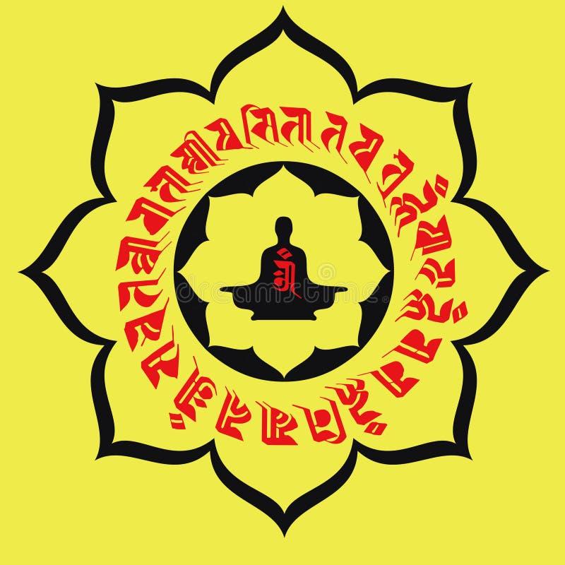 Tótem de Lotus y escrituras budistas stock de ilustración
