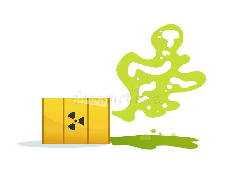 Tóxico, resíduos radioativos Vetor do tambor cartoon Isolado ilustração royalty free