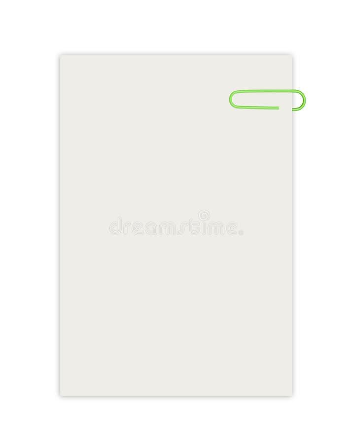 Töm arket med den isolerade paperclipen arkivfoto