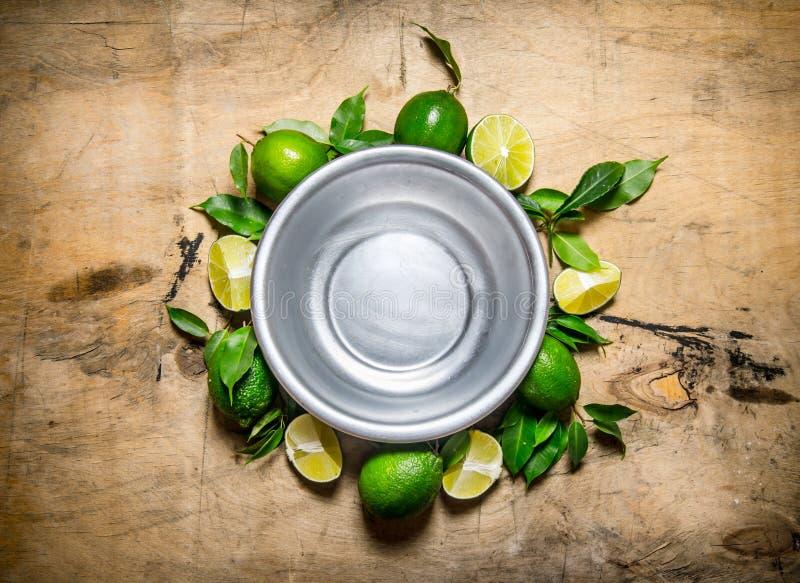 Töm bunken med skivor av nya limefrukter och sidor omkring royaltyfri fotografi