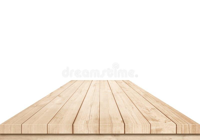 Töm den bruna trätabletopen på vit bakgrund royaltyfri foto