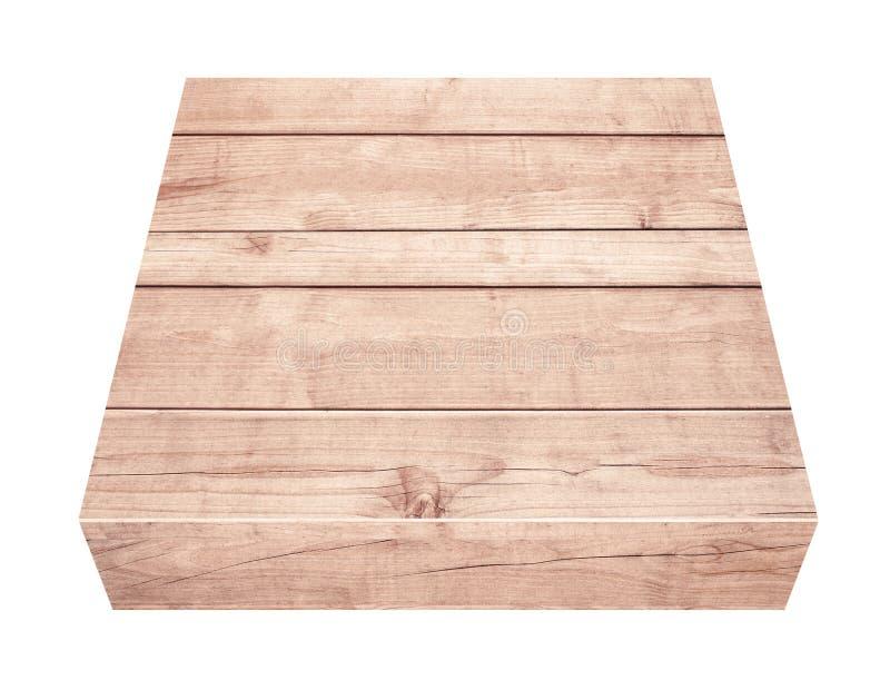 Töm den bruna trätabletopen, vertikala plankor på vit bakgrund arkivbild